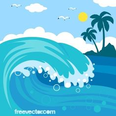 Cartoon Ocean Waves | Wave Vector:
