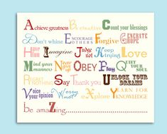 Alphabet Words To Live By Nursery Playroom Wall Decor Printable Digital JPEG File on Etsy, $10.00