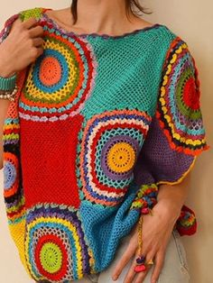 Easy and Cute Free Crochet Flowers Pattern Image Ideas for new Season 2019 Part crochet flowers;Crochet is the anti-depressant addiction you don't have to be ashamed of. ❤️ Amazing crochet work of .Dony's Creations - HandMade : Wip - cactus in un Free Diy Crochet Sweater, Crochet Jacket, Crochet Poncho, Crochet Cardigan, Crochet Granny, Crochet Clothes, Knit Crochet, Vetement Hippie Chic, Freeform Crochet