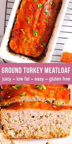 Low Fat, Gluten Free Ground Turkey Meatloaf Ground Turkey Meatloaf with simple ketchup glaze is always a hit at our house. Juicy, healthy, easy and delicious comfort food. Low fat and gluten free. Healthy Family Meals, Healthy Dinner Recipes, Real Food Recipes, Cooking Recipes, Healthy Food, Healthy Dinners, Beef Recipes, Yummy Food, Ground Turkey Meatloaf
