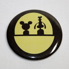 DOOMBUGGY MICKEY MOUSE AND GOOFY PIN BUTTON Haunted Mansion Disney Pinback