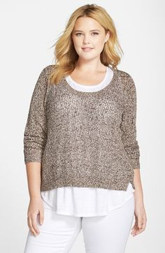 Eileen Fisher Speckled Cotton U-Neck Knit Top (Plus Size) available at #Nordstrom
