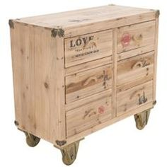 WOODEN /METAL DRAWER JOYCE IN NATURAL COLOR 80X38X74