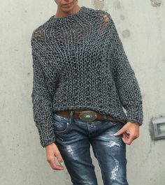 Grey chunky sweater by ileaiye on Etsy, $140.00
