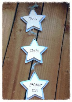 This very cute 3 wooden star hanging plaque would make a beautiful congratulations birth gift, birthday keepsake or christening gift, it's handpainted and written. Comes in blue/cream or pink/cream. The coloured star has a smaller cream star in the centre. On these stars you can have  child's name, date of birth or Christening date, birth weight, happy birthday or Christening or Baptism etc size 9cm overall size approx  9cm x 35cm prices include p+p
