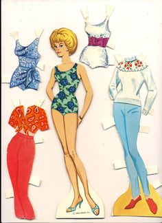 Barbie Paper Doll And Clothes Mattel Vintage 1964 by lindapaloma