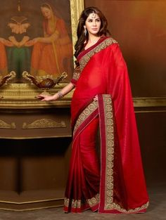 SAAA6546A-Maroon Georgette Saree with Embroidery Work
