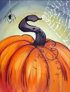 Fall Canvas Painting, Autumn Painting, Autumn Art, Tole Painting, Painting & Drawing, Pumpkin Painting, Family Painting, Painting Abstract, Halloween Painting
