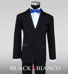 Ring Bearer Boys Tuxedo with a Blue Slim Bow Tie