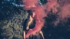 girl with pink smoke - chica con humo rosa - Ibiza 2016, Becom Ibiza