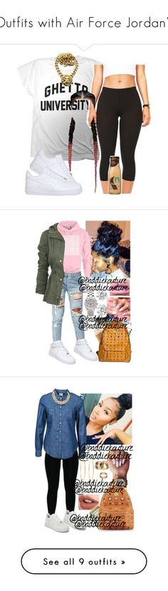 """""""Outfits with Air Force Jordan's"""" by barbiedatrillest ❤ liked on Polyvore featuring NIKE, Kenneth Jay Lane, Boohoo, Michael Kors, Apt. 9, Vero Moda, Charlotte Tilbury, Brooks Brothers, M-Clip and MCM"""
