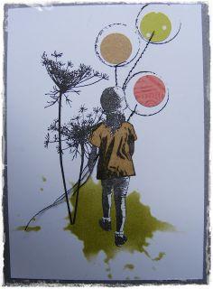 Met een template en disstres ink (peeled paint) gras gemaakt, het meisje (AJ stempel, precious moments) met zwarte inkt op print papier gestempeld en op beige inpak papier (voor het shirtje) . De bloemen stempel (merk weet ik niet meer) ook met zwarte inkt afgedrukt. Rondjes geponst uit groen, roze en beige papier en er een zwart rondje omheen gezet met inkt. Toen met de naaimachine de touwtjes voor aan de ballonnen gestikt en tot slot het meiske op de juiste plek geplakt.