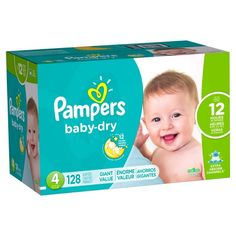 Pampers Baby Dry Diapers, Giant Pack - Size 4 (128 ct) : Target