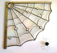 Spider Web Stained Glass Window Corner Decoration