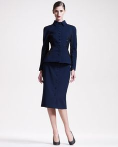 Fitted Peplum Jacket & Button-Front Pencil Skirt by Bottega Veneta at Neiman Marcus.