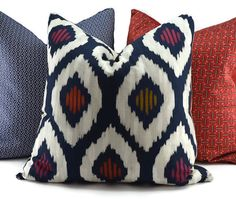 Navy Off White Red & Gold Ikat Throw Pillow Cover 20x20