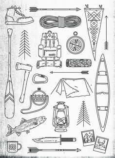 zacharysmithh: Camping Print - by Zachary Smith View full-size Here Buy Here Symbole Tattoo, Illustration Art, Illustrations, Ikon, Coloring Pages, Doodles, Artsy, Sketches, Clip Art