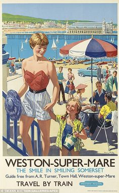 Vintage railway posters of UK seaside destinations - Weston-Super-Mare