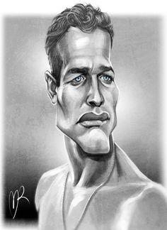 Paul Newman Caricature by Marzio Mariani. Cartoon Faces, Funny Faces, Cartoon Art, Caricature Artist, Caricature Drawing, Drawing Art, Funny Caricatures, Celebrity Caricatures, Celebrity Drawings