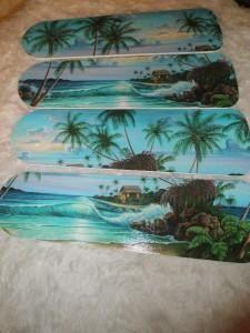 Custom Ceiling Fan Tropical Moonlight Ocean By Julesfabulousfans