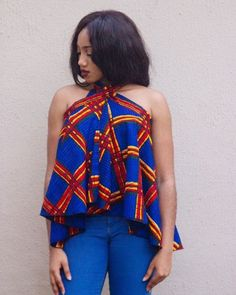 The TEE wrap skirt as a top ~African fashion, Ankara, kitenge, African women dresses, African prints, Braids, Nigerian wedding, Ghanaian fashion, African wedding ~DKK #AfricanFashion