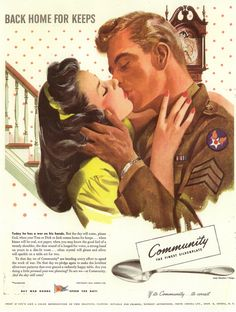 SALE vintage romantic kiss illustration by Retrocall on Etsy Romance Art, Vintage Romance, Vintage Love, Vintage Ads, Vintage Prints, Vintage Photos, Old Advertisements, Advertising, Ww2 Posters