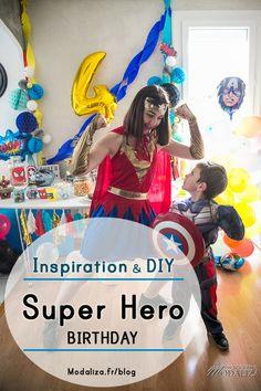 Super hero birthday inspiration diy - Anniversaire super hero Wonder woman Captain America - modaliza blog