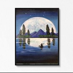Excited to share the latest addition to my #etsy shop: Handmade moon landscpe acrylic painting wall hanging room decor #framed #bedroom #artdeco #landscapescenery #paper #moon #moonpainting #modernart #landscapepainting River Painting, Moon Painting, Seascape Paintings, Landscape Paintings, Large Wall Art, Handmade Art, Modern Art, Art Deco, Paper Moon