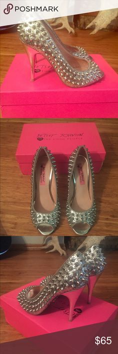 Betsy Johnson silver glitter studded 7.5 Betsy Johnson silver glitter studded size 7.5 heels  Wore these with a aqua bridesmaid dress, super cute! Betsey Johnson Shoes Heels