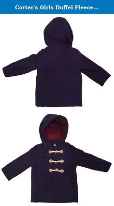 283616527 Carter's Girls Duffel Fleece Hooded Coat Jacket - Navy - Shell is Polyester,  Viscose and Elastane. Lining is Polyester. Mid weight jacket for your  little ...