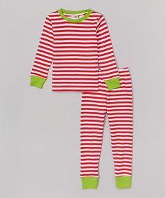 This Red Stripe Pajama Set - Infant & Toddler by Barefoot Children's Clothing is perfect! #zulilyfinds
