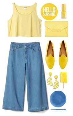 """""""Yellow and blue"""" by fanfanfann ❤ liked on Polyvore featuring Monki, Givenchy, Le Monde Beryl, Celebrate Shop and MAC Cosmetics"""