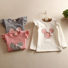 kid clothes Retail 2016 new style girl T shirt comfortable lovely Minnie girls Tee cotton baby girl clothes long sleeved t shirt Little Girl Outfits, Cute Outfits For Kids, Toddler Girl Outfits, Newborn Girl Dresses, Baby Dress, Fashion Kids, Babe, Handmade Baby Clothes, Spring Shirts
