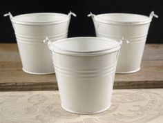 "White Galvanized 4"" Pails with Handles $2.99 each / 10 for $1.99 each"