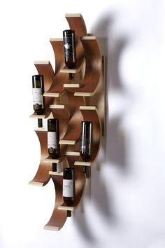 58 Modern Wine Rack Design Ideas From Wood Cool Wine Racks, Articles En Bois, Wc Decoration, Modern Wine Rack, Wine Rack Design, Barris, Shelving Solutions, Bois Diy, Wine Bottle Holders
