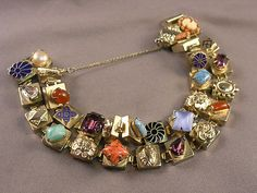 LOVE- Gorgeous vintage 1950's Jeweled Victorian Style 2-Row Slide Link Bracelet