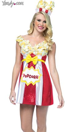 Sexy Halloween Costumes for Women, 2019 Adult Halloween Costume Ideas Food Costumes, Candy Costumes, Halloween Costumes For Girls, Costumes For Women, Circus Fancy Dress, Popcorn Costume, Sister Costumes, Red Sequin Dress, Long Shirt Dress
