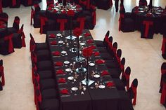 Table And Chair Decorations For Weddings Black And Red | visit www.lovelyweddingideas.com