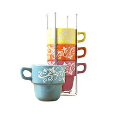 Tabletops Gallery 14 Ounce Stacking Mugs With Chrome Rack. #shopko #bestroomever2016