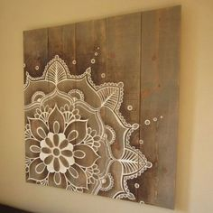 Mandala artwork on rustic wood original hand painted. Size: 37 x 39 inch x 99 cm) Mandala artwork on rustic wood original hand painted. Size: 37 x 39 inch x 99 cm) Arte Pallet, Pallet Art, Diy Pallet, Pallet Wood, Mandala Artwork, Mandala Painting, Diy Wall Art, Wood Wall Art, Stencils Mandala