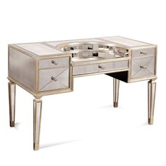 Mirrored Desk belongs to Borghese Collection by Bassett Mirror Company Mirrored Vanity Desk, Mirror Drawers, Mirrored Furniture, Home Office Desks, Home Office Furniture, Makeup Furniture, Beauty Table, Antique Writing Desk, Dressing Table Mirror