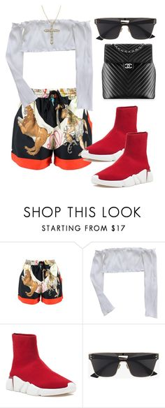 """Untitled #4702"" by dkfashion-658 on Polyvore featuring Versace, Jeffrey Campbell, Chanel and Christian Dior"