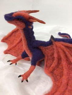 OOAK Needle felted purple/orange dragon
