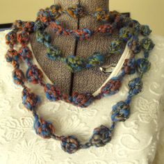 Crochet Skinny Scarf Turquoise Olive Rust by GypsythatIwas on Etsy, $24.00