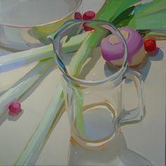 Karen O'Neil glass, square, leeks, movement, food, light, investment