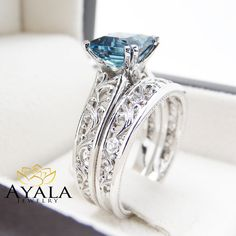 London Blue Topaz Engagement Ring Set Princess by AyalaDiamonds