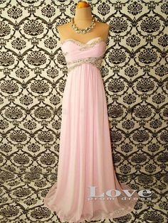 Custom Made A-line Pink Chiffon Long Prom Dresses, A-line Strapless Cheap Prom Dress, Bridesmaid Dresses, Dress For Prom 2014 on Etsy, $168.99