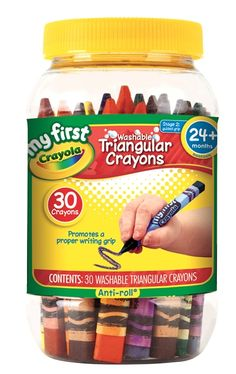 Crayola Triangular Crayons for tiny hands.I believe all crayons should be made this way