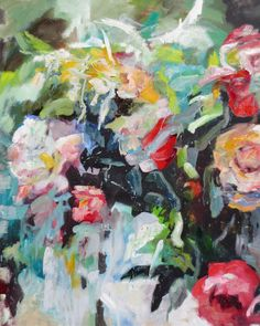 'Roses and Peonies' oil painting by Kim Ford Kitz kimfordkitz.com