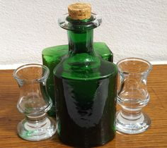 "Vintage Holmegaard ""Hiverten"" Schnapps Bottle & Two Ships Schnapps Glasses"